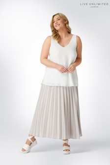 Live Unlimited Mink Foil Pleated Skirt