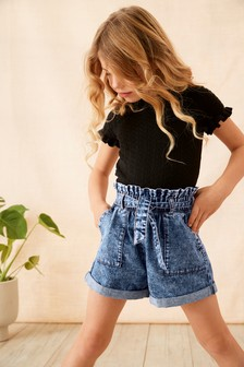 Short Sleeve Pointelle Top (3-16yrs)