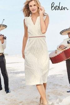 فستان متوسط الطول أبيض مزخرف Hallie من Boden