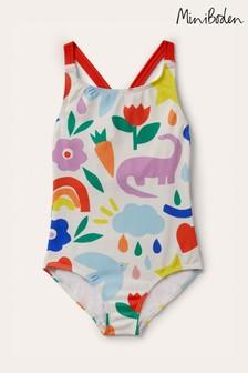 Boden Ivory Cross-Back Swimsuit