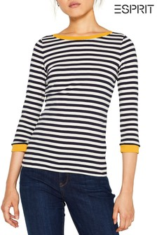 Esprit Blue Long Sleeve T-Shirt With Contrast Details