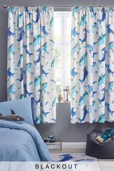 Silly Sharks Pencil Pleat Blackout Curtains