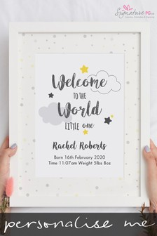 Personalised Welcome To The World A4 Framed Print by Signature PG