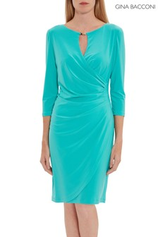 Gina Bacconi Green Brooke Jersey Wrap Dress
