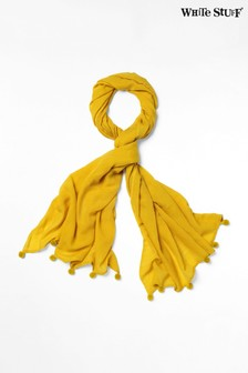 White Stuff Yellow Penny Slub Wool Pom Scarf