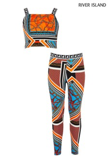 River Island Orange Print Baroque Print Crop Top And Leggings Set