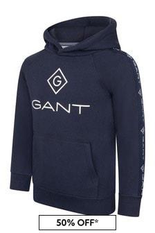 GANT Boys Navy Cotton Logo Hoodie