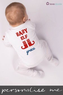 Personalised Baby Elf Sleepsuit by Loveabode