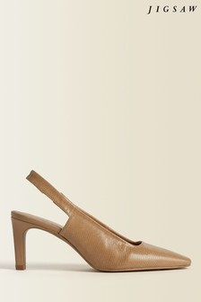 Jigsaw Brown Jessy Leather Slingback Heels