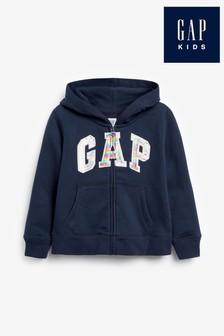 Gap Girls Navy Zip Logo Hoody