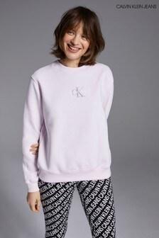 Calvin Klein Jeans Pink Monogram Logo Crew Neck Sweater
