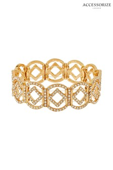 Accessorize Gold Tone Pave Diamond Shaped Stretch Bracelet