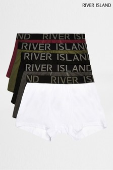River Island Burgundy/Khaki Classics Trunks Five Pack