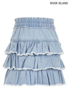 River Island Blue Chambray Rara Skirt