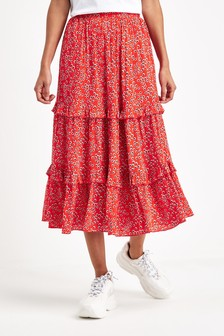 Daisy Print Tiered Skirt