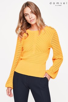 Damsel In A Dress Yellow Myron Pointelle Knit Jumper