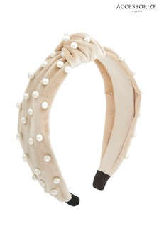 Accessorize Pink Pearl Embellished Aliceband