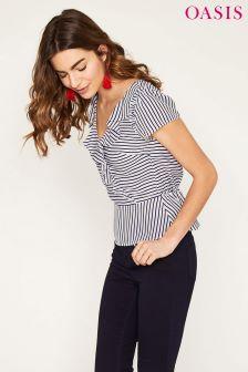 Oasis Blue Stripe Tea Top
