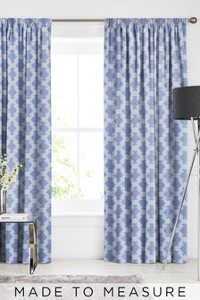 Kendrick Ink Blue Made To Measure Curtains