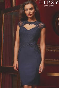 Облегающее платье с ажурными украшениями, глубоким декольте и высокой горловиной Lipsy