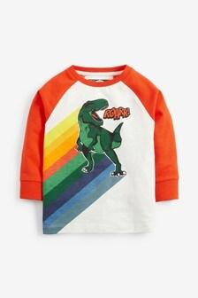 Футболка с длинными рукавами реглан и динозавром (3 мес.-7 лет)