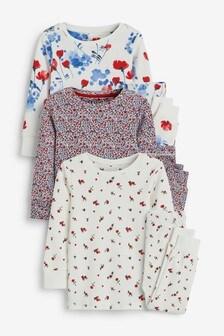 Floral 3 Pack Cotton Snuggle Pyjamas (9mths-8yrs)