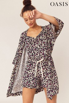 Oasis Natural Leopard Print Robe
