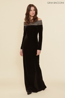 Gina Bacconi Black Bertina Velvet Maxi Dress