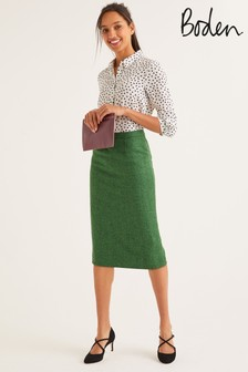 Boden Green British Tweed Pencil Skirt