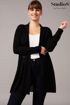 Studio 8 Black Mia Sheer Knit Cardigan
