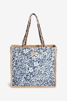Printed Reversible Hessian Shopper Bag
