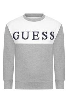 Boys Grey/White Cotton Logo Sweater