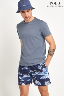 Polo Ralph Lauren Navy Hawaiian Print Swim Shorts
