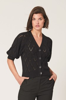Pointelle Detail Button Cardigan