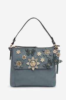 Floral And Butterfly Appliqué Hobo Bag
