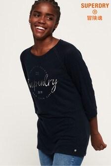 Superdry Penton Linen Graphic Long Sleeve Top