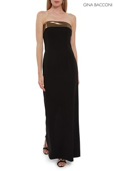 Gina Bacconi Black Lilium Crepe And Chiffon Maxi Dress