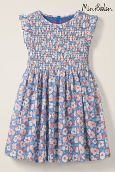Boden Blue Smocked Woven Dress