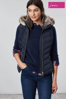Joules Blue Maybury Chevron Padded Gilet With Hood