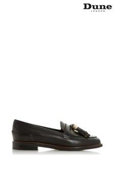 Dune London Glazer Black Leather Tasseled Loafers