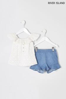 River Island Ivory Broderie Flutter Top & Denim Shorts
