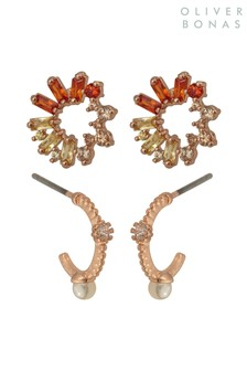 Oliver Bonas Orange Roxie Stone & Pearl Earrings Four Pack
