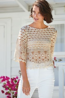 Crochet Boat Neck Top