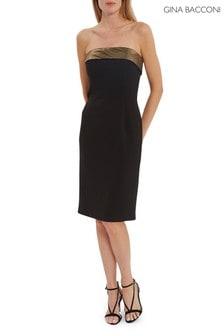 Gina Bacconi Black Gracella Crepe And Chiffon Dress