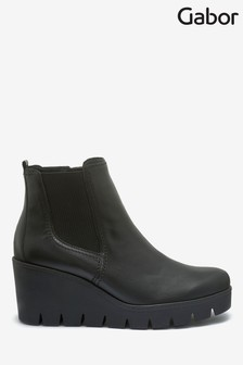 Gabor Black Angel Womens Modern Leather Ankle Boots
