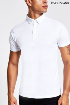 River Island White Rib Muscle Wasp Polo Top