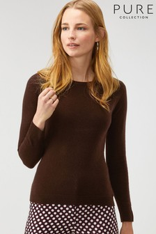 Pure Collection Brown Cashmere Slim Fit Crew Neck Sweater