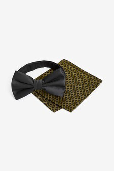Bow Tie With Printed Pocket Square Set
