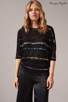 Phase Eight Multi Sandy Stripe Sequin Knit Top