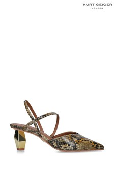 Kurt Geiger Ladies Della Sling Yellow Snake Print Back Shoes